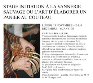 Initiation à la vannerie sauvage - lundis 18 nov, 2 et 9 dec, 6 jan 2019
